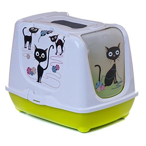 adena Katzentoilette Funny Cat Weiss Unterschale hellgrün