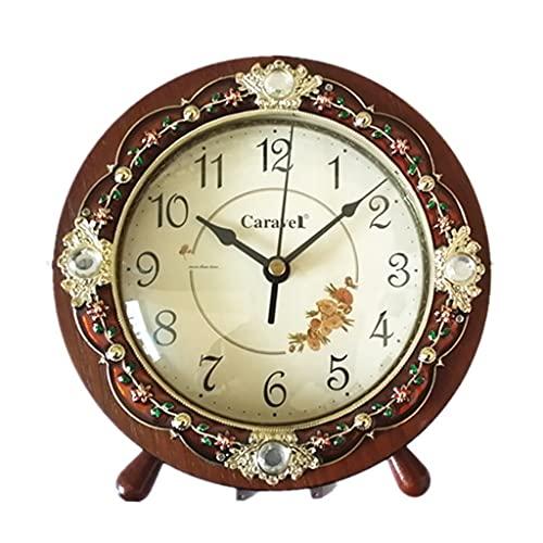 KLHDGFD Reloj de mesa de lujo europeo, decoración del hogar de madera, sala de estar, dormitorio, reloj de escritorio silencioso, reloj de escritorio de oficina, reloj de mesa, regalo