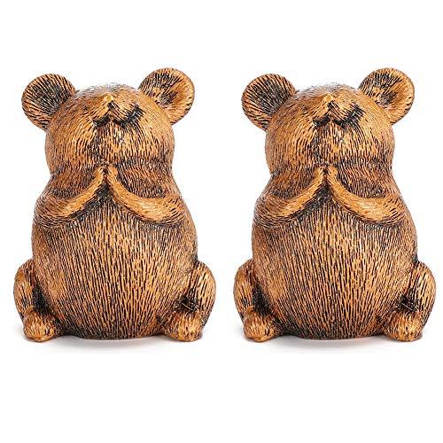 2 pcs Résine Petite Souris Figurine Animal Rat Jouets Décorations Ornements Figurines Résine Rats Statue pour Voiture Maison Jardin Cadeau