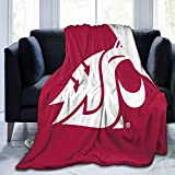 Washington State Cougars University Throw Blanket Kids Adults Fuzzy Plush Blanket Bed Couch Chair Living Room All Season 50'X40'