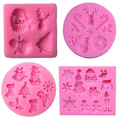 4pcs Moldes de silicona para fondant 3D Mini moldes de Navidad, Molde de pastel de Navidad 4pcs DIY Navidad Muñeco de nieve Silicona Chocolate Dulces Cupcake Molde para hornear