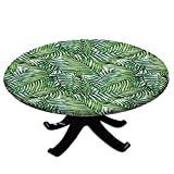 Leaf Round Tablecloth with Elastic Edges, Watercolor Print Botanical Wild Palm Trees Leaves Ombre Design Image Water and Oil Repellent , Fits Tables 24