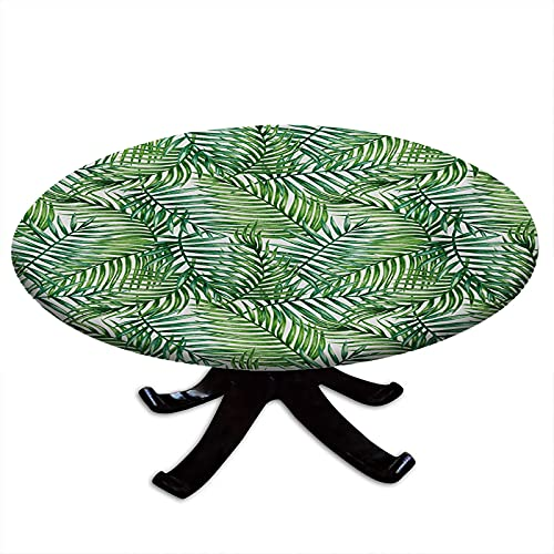 Leaf Round Tablecloth with Elastic Edges, Watercolor Print Botanical Wild Palm Trees Leaves Ombre Design Image Water and Oil Repellent , Fits Tables 24' - 28' Diameter Dark Green and Forest Green