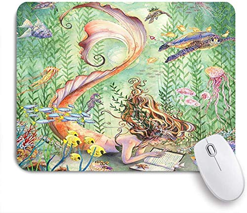 Gaming Mouse pad Custom,Sea Underwater World Ocean Animals Mermaid Marine Life Mermaid and Tropical Fish,Office Personalized Design Non-Slip Rubber Mousepad 9.5 X 7.9 Inch