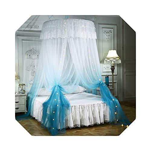 Net voor Bed Plafondmontage Klamboe Gratis installatie Home Dome Opvouwbaar Bed Luifel met Haak Gradient Princess Plafondbed Gordijn Alleen Blauw klamboe