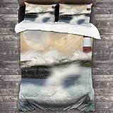 BEITUOLA Juego de Funda nórdica,Impresión de Las Olas del mar tormentoso del Faro,1 Funda de Edredón y 2 Fundas de Almohada 200 x 200cm