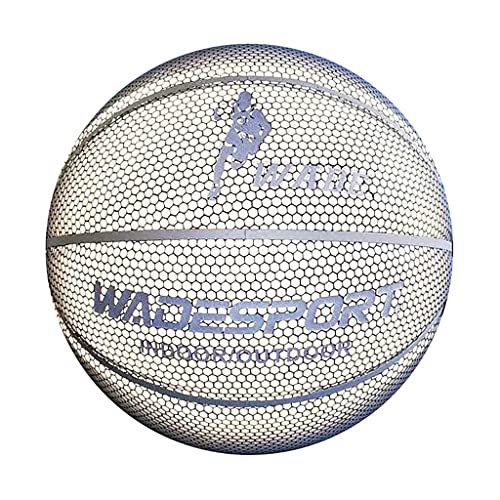 YCX Blanco Luminoso Tamaño 7 Baloncesto Estándar Luminoso Reflectante Fluorescente Baloncesto Chica Regalo Bola Niños Bola Azul Regalo Fresco