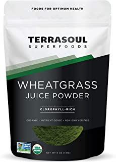 Terrasoul Superfoods Organic Wheat Grass Juice Powder, 5 Ounces - USA Grown | Made From Concentrated Juice | Superior to W...