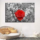 KWzEQ Imprimir en Lienzo Rosas Rojas y Flores Silvestres para Obras de Arte en póster decoración de la Sala de estar60x90cmPintura sin Marco