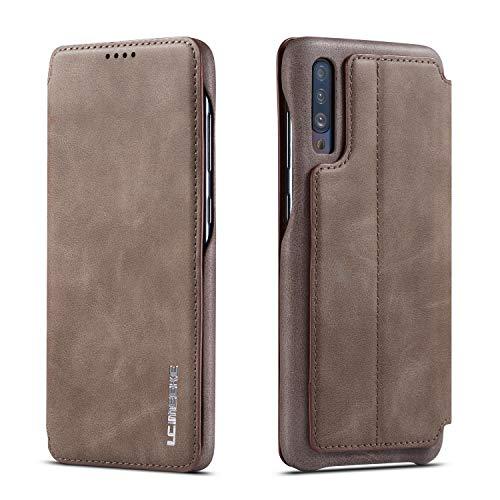 QLTYPRI Hülle für Samsung Galaxy A70, Premium PU Leder Handyhülle Ultra Dünne Ledertasche Magnetverschluss Kartenfach und Ständer Flip Schutzhülle Kompatibel mit Samsung Galaxy A70 - Kaffee Braun