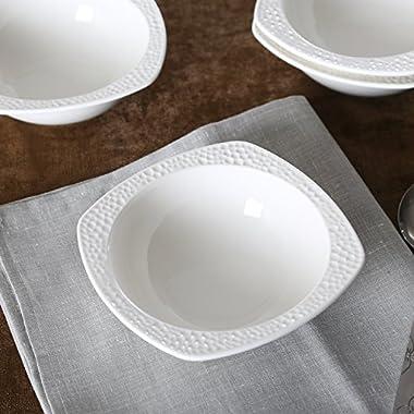 SOLECASA  13-OZ/Set of 4  White Porcelain/Ceramic Dinner Serving Bowl,Cereal/Pasta/Soup/Salad Bowl
