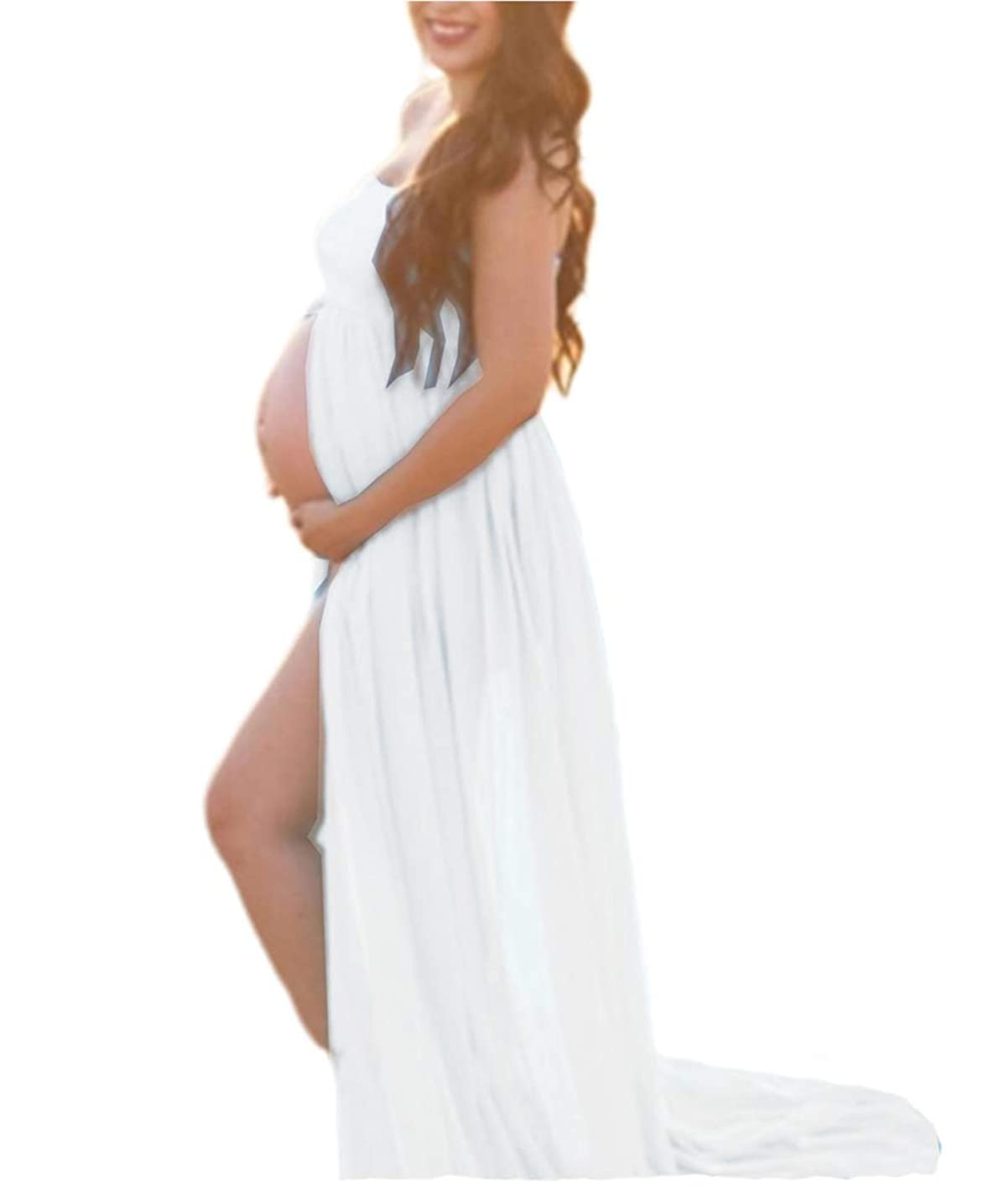 Maternity Dress for Photography Off Shoulder Chiffon Gown Split Front Maxi Pregnancy Dresses for Photoshoot