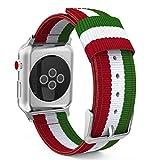 Estuyoya - Pulsera de Nylon Compatible con Apple Watch Colores Ikurriña Bandera de Euskadi, Ajustable Deportiva Casual Elegante para 42mm 44mm Series 6/5 / 4/3 / 2/1 / SE/Nike+ - Plata