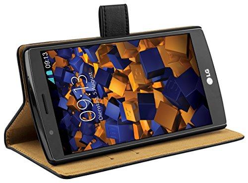 mumbi Echt Leder Bookstyle Case kompatibel mit LG G4 Hülle Leder Tasche Case Wallet, schwarz