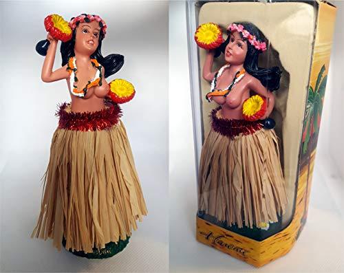 Hang Loose Aloha Wackel Hula Mädchen Figur Hawaii Hula Doll(16cm) Natur Bastrock
