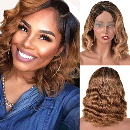 Goldfinch Ombre Loose Body Wave Bob Wig Human Hair 13x1T Part Lace Front Wig Brazilian Remy Ombre Human Hair Wig Pre Plucked Side Part Bob Wig 1b/30 Honey Brown