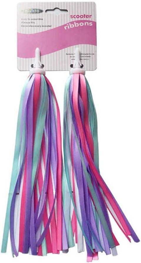 Arco iris para niños, 2 piezas para manillar de bicicleta para niños, colorido, cintas con borlas, accesorios de transporte fáciles de acoplar al manillar de scooter/triciclos/bicicletas, color morado