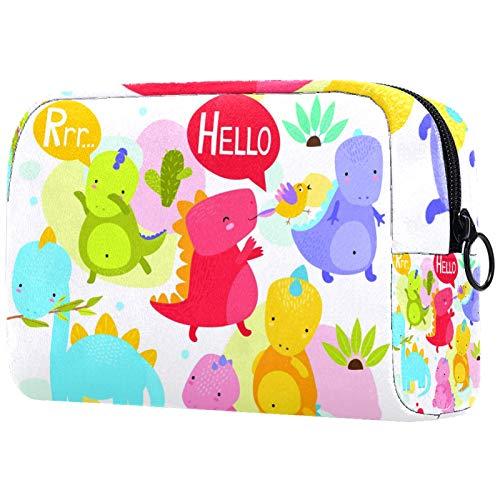 Personalised Makeup Brushes Bag Portable Toiletry Bags for Women Handbag Cosmetic Travel Organiser 恐竜 マルチ かわいい