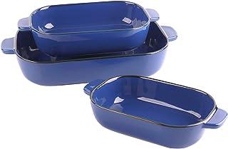 Kvv Ceramic Bakeware Set of 3 Piece Retangular Baking Pan,Baking Dishes, Lasagna Pans for Cooking, Kitchen, Cake Dinner, B...