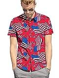 Fanient Mens American Hawaiian Shirt Summer 3D USA Flag Print Graphic Dress Shirt Button Down Aloha Short Sleeve XXL