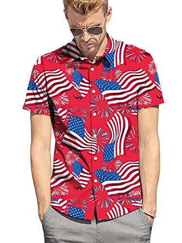 Fanient Mens American Hawaiian Shirt 3D Flag Print Short Sleeve Summer Casual Button Down Aloha Shirts XL