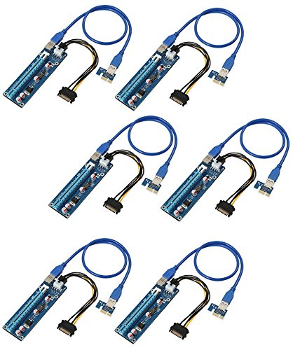 De Haute qualité - PCI-E Express 1 x vers 16 x Extender Carte Riser + SATA 6pin câble d'alimentation + câble d'extension USB 3.0 60 cm - AAA Products®