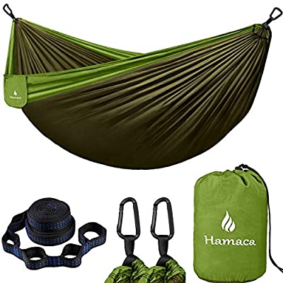 Camping Hammock, Portable Hammock with Tree Straps (10+2 Loops), Single Travel Hammock with 210T Nylon, Lightweight Parachute Hammocks for Backpack, Outdoor, Beach, Backyard, Hiking for Kids and Adult
