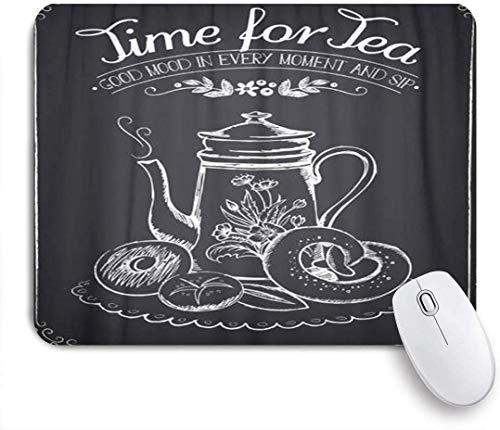 Mausmatte Mauspad schwarzes Café die Wörter Zeit für Tee und Teekanne angepasste Kunstmousepad rutschfeste Gummibasis für Computer Laptop Schreibtisch Schreibtischzubehör