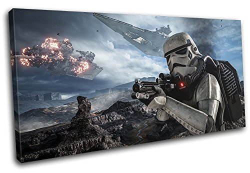 Bold Bloc Design - Star Wars Battlefront Gaming 120x60cm Single Canvas Art Print Box Framed Picture Wall Hanging - Hand Made in The UK - Framed and Ready to Hang