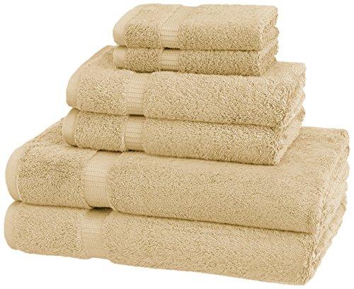 Amazon Brand – Pinzon Organic Cotton Bathroom Towels, 6-Piece Set, Sand Beige