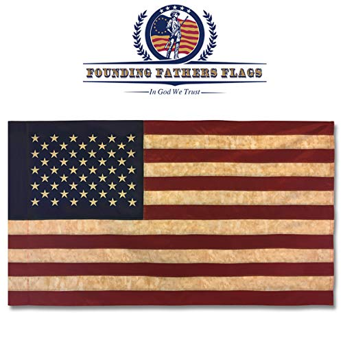 Founding Fathers Flags Embroidered Vintage American Flag - Premium Quality Oxford Polyester - 3'x5' w/Sleeve