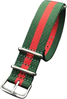 Green/Red NATO Watch Strap for Sale Premium Nylon Watch Band for Men with Stainless Steel Buckle Wristband Width 18mm 20mm 22mm 24mm
