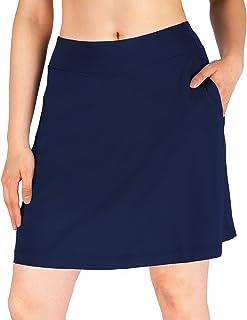 "Yogipace Women's 4 Pockets UV Protection 17""/20"" Long Running Skirt Athletic Golf Skort with Tennis Ball Pockets Built in ..."