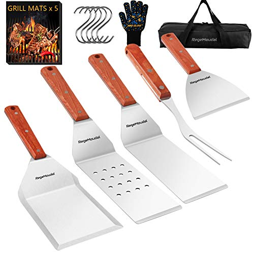 RegeMoudal Griddle Accessories Kit 16PCS Professional BBQ Grill Griddle Tools Set of 4 Stainless Steel Grill Spatulas with Wooden Handles and Grilling Gloves for Grill Flat Top Cooking Camping