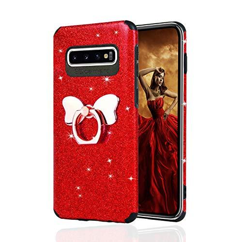 Misstars Glitzer Hülle für Galaxy S10 Plus Rot, Bling Pailletten Weiche TPU Silikon Handyhülle Anti-Rutsch Kratzfest Schutzhülle mit Schmetterling Ring Ständer für Samsung Galaxy S10 Plus