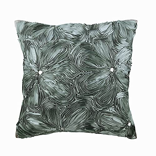 Grau Kissenbezüge 35 x 35 cm, Seide Kissenbezug, handgemachte Dekokissenbezug Grau - Grey Floral Robe