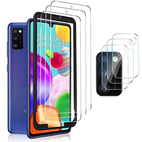 MSOVA Vetro Temperato per Samsung Galaxy A41 Pellicola Protettiva +Proteggi Lenti per Fotocamera [Anti-Bolla] Pellicola Protettiva Applicare Disegnato per Samsung Galaxy A41 (Clear)(3 Pezzi)