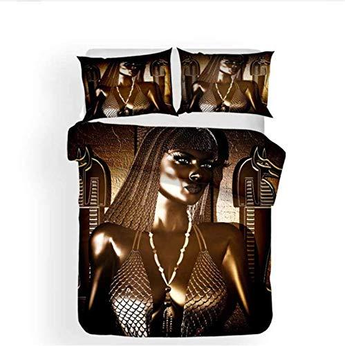 Nat999Lily Colcha con Estampado 3D De La Cultura del Antiguo Egipto, Funda Nórdica De Oro Negro, Funda De Almohada, Edredón De 3 Piezas, Funda De Cama, Decoración del Dormitorio del Hogar, 220X240Cm
