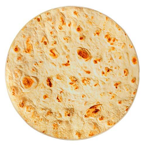 Burrito Tortilla Decke, Runde Neuheits Tortilla Kuscheldecke, Mikrofaser Flanell Food Creation Tagesdecke, Weiches Fleecedecke Sofadecke, Reisedecke (71 inch)