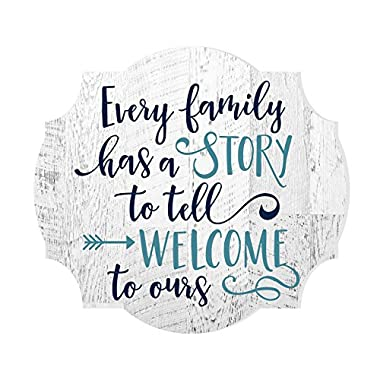 MRC Wood Products Every Family Has A Story To Tell Welcome To Ours Distressed Sign 12x13