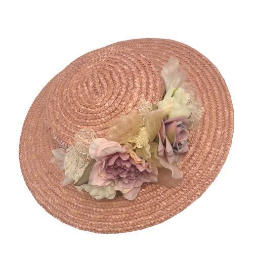 Canotier Boda Rosa Nude con Adorno de Flores. Sombrero para Boda de día con Vestido Corto en Color Liso o Estampado.