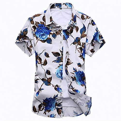 RelaxLife - Camisa de manga corta para hombre, camisa de playa para hombre de verano, flores de moda, floral, casual, blusas hawaianas de algodón macho, tallas grandes, manga corta, ropa masculina