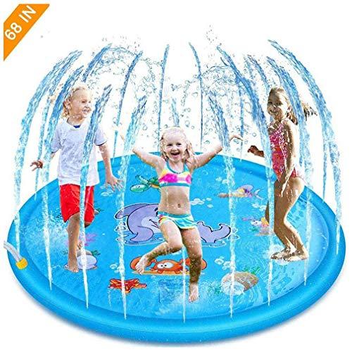 WWXXCC Alfombrilla de juego para salpicaduras, juguetes inflables de agua, juguetes de piscina al aire libre, almohadilla de aspersor portátil para actividades familiares en el jardín, 68 pulgadas