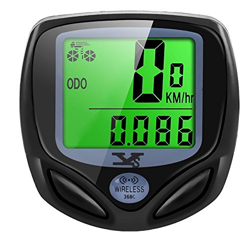 DINOKA Y&S Bike Computer Wireless Waterproof Cycling Computer Automatic Wake-up Multifunctions Bicycle Speedometer Odometer Backlight LCD Display-Tracking Distance Avs Speed Time
