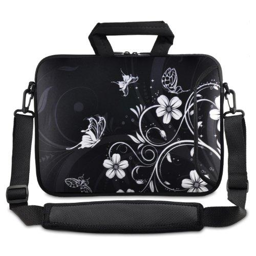 ChaoDa Black und white Flower 40,64 cm 43,18 cm 43,94 cm 44,7 cm Zoll Notebook Tasche Umhängetasche Tragetasche für Apple MacBook pro 17/Dell/Acer V3/lenovo/Samsung/Asus Zoll Notebooks