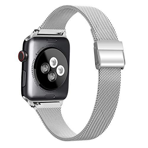 Meliya コンパチブル Apple Watch バンド ミラネーゼループ アップルウォッチバンド iWatch 通用ベルト apple watch series 5/4/3/2/1に対応 ステンレス留め金製 (38mm/40mm, シルバー)