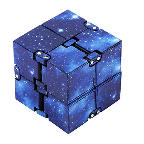 EVERMARKET Infinity Fidget Cube for Kids and Adults, Stress and Anxiety Relief Cool Hand Mini Kill Time Toys Infinite Cube for Add, ADHD (Blue Galaxy Space)