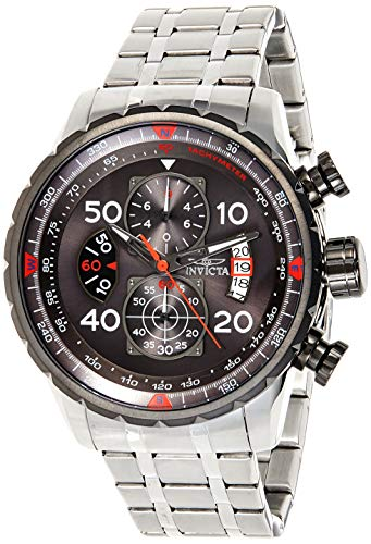 Invicta Men's Aviator 48mm Stainless Steel Chronograph Quartz Watch, Silver (Model: 17204)