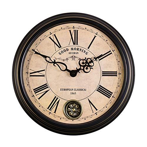ZQ HOME Pendules murales EuropäIsche Retro Wohnzimmer Stumm Wanduhr, Amerikanische Antike Schaukel Uhr Mode Kreative Wanduhr Quarz Uhr