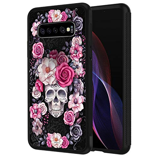Galaxy S10 Plus Case,AIRWEE Slim Shockproof Silicone TPU Back Protective Cover Case for Samsung Galaxy S10 Plus (2019) 6.4 inch,Sugar Skull Flower